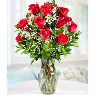 12 Rosas Rojas + Florero