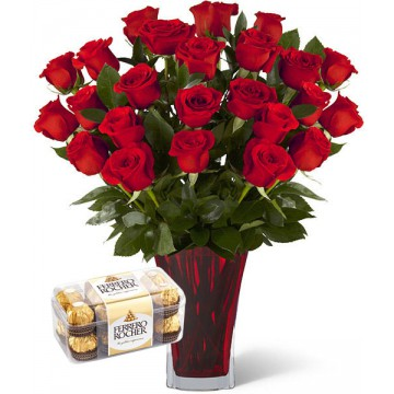 24 Rosas Rojas + Bombones