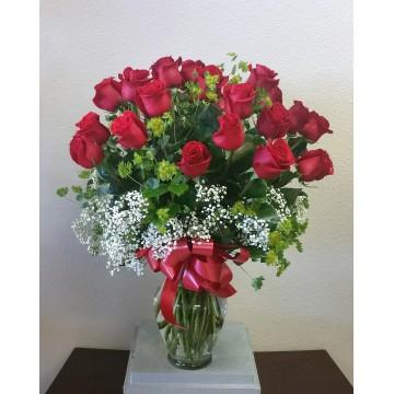 24 Rosas Rosas en Jarrón