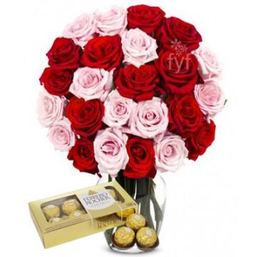 Ramo de 24 Rosas Surtidas + Bombones