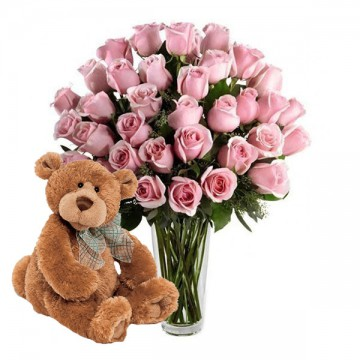 48 Rosas Rosadas + Oso Peluche