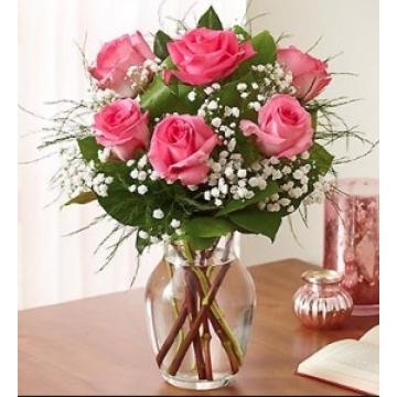 6 Rosas Rosadas Con Florero
