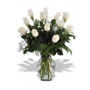 Docena de Rosas Blancas en Florero