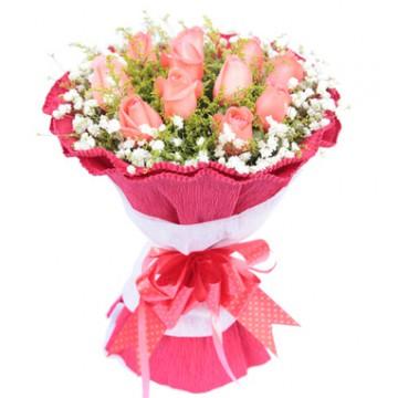 Docena de Rosas Rosadas Redondo