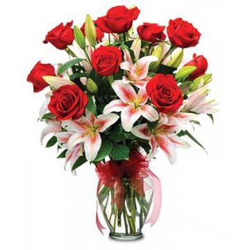 Rosas & Liliums en Jarron